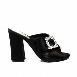 Fornarina sandalo donna colore nero stile sabot con decoro in pietre modello gilda 2 articolo PE18GI2904O000