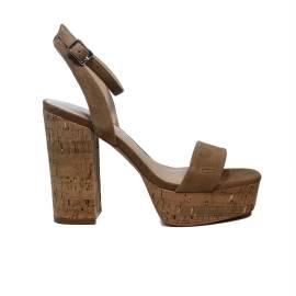 Fornarina sandalo donna con tacco alto colore beige scuro modello mina articolo PE18MN2816S087
