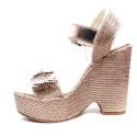 Fornarina sandalo donna con zeppa alta color cipria modello marion articolo PE18MA1838C067