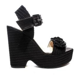 Fornarina sandal woman with wedge high black model marion article PE18BUT1838C000