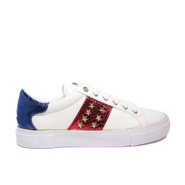Exercise Guess low model with stars and colored bands blue and red for women article FLGAM1 ELE12 WHITE