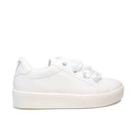 Guess sneaker bassa modello lucido con lacci in raso colore bianco per donne articolo FLURN1 ELE12 WHITE