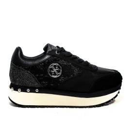 Guess sneaker donna modello multimateriale di colore nero articolo FLTIF1 LAC12 BLACK
