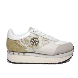 Guess sneaker donna modello multimateriale di colore bianco articolo FLTIF1 LAC12 WHITE