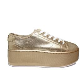 Guess sneaker donna modello in tessuto con zeppa media colore oro articolo FLBM32 LEL12 GOLD