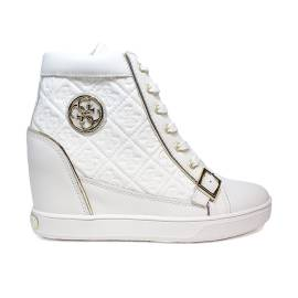 Guess sneaker woman model in leather with internal wedge white FLIOE Article1 LEA12 WHITE