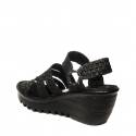 Woz black sandal with elastic and wedge article UP689