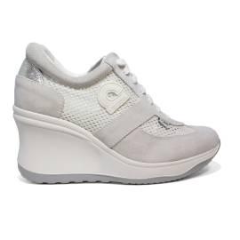 Agile by Rucoline sneaker donna traforata di colore bianco con zeppa alta articolo 1800 A CHAMBERS SOFT BIANCO