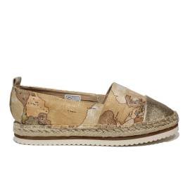 Alviero Martini 1a espadrillas class woman platinum color beige and laminated with geographical map article P3A0-00102-0040X039