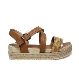 Alviero Martini 1st Class sandal woman color leather with wedge in rope and rubber article P3A2-00098-0041X03 GEO BEIGE/leather