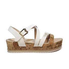 Alviero Martini sandalo donna colori bianco e beige con zeppa in tessuto sughero e gomma articolo P3A2-00099-0041X03