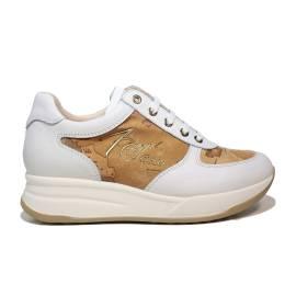 Alviero Martini 1a Classe sneaker donna colore bianco con mappa geografica color beige articolo N 0352 0030