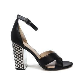 Guess sandalo donna colore nero con tacco alto in argento articolo FLIAN1 LEA03 BLACK