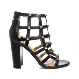 Guess sandalo donna colore nero con tacco alto e mezze sfere color argento articolo FLACK1 ELE09 BLACK