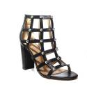 Guess sandal Woman black color with high heels and half-spheres silver article FLACK1 ELE09 BLACK