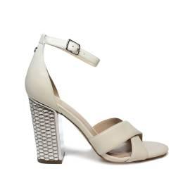 Guess sandalo donna colore bianco crema con tacco alto in argento articolo FLIAN1 LEA03 CREAM