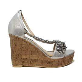 Roberta Martini sandalo donna con zeppa alta color argento laminato e diamanti sulle fasce articolo J-09