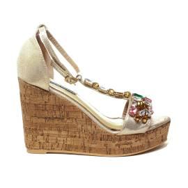 Roberta Martini sandalo donna con zeppa alta color oro laminato e diamanti sulle fasce articolo J-09