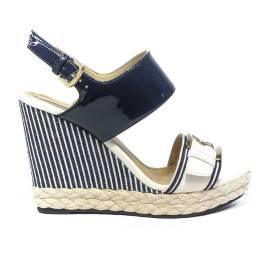 Geox sandalo donna con zeppa alta colori blu e bianco articolo D82P6E 00254 C4211 D JAMIRA A