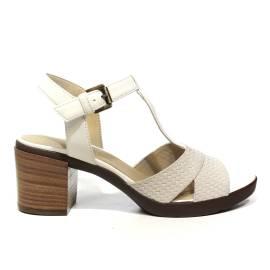 Geox sandalo donna con tacco medio color bianco sporco articolo D827XB 06RBC C1002 D ANNYA M.S.B.
