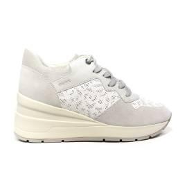 Geox sneaker donna con zeppa alta color bianco e bianco sporco articolo D828LC 08522 C1352 D ZOSMA C