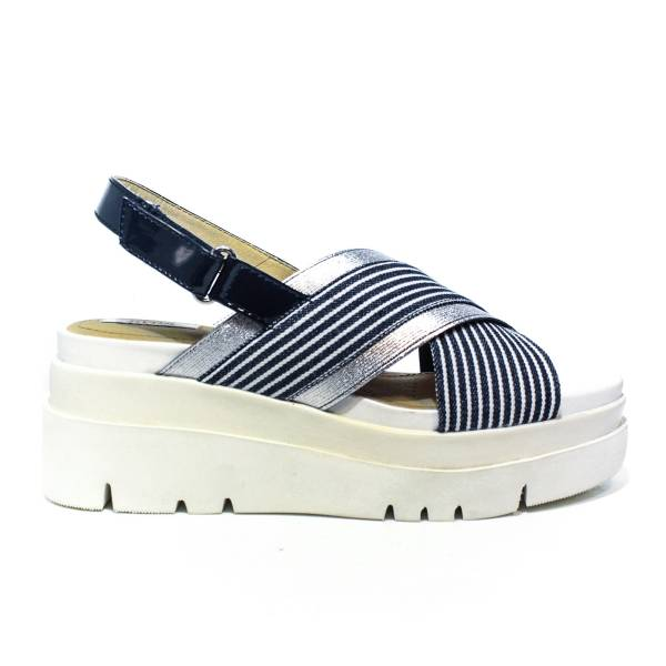 Geox sandal woman with high wedge colors white and blue marine827D UA AWHH 0C4211 D RADWA TO