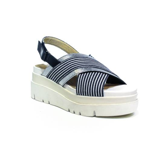 Geox sandal woman with high wedge colors white and blue