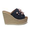 NH.24 sandalo con zeppa alta in corde color jeans con perline rosa articolo NHS21 PEARL LINK