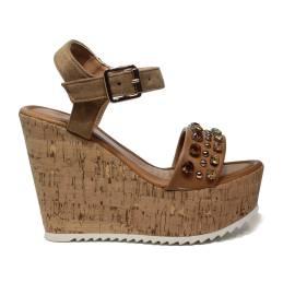 NH.24 sandalo con zeppa alta in sughero colore bronzo con diamanti in bronzo articolo NHS08 BRONZE
