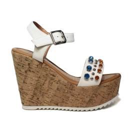 NH.24 sandalo con zeppa alta in sughero colore bianco con diamanti in turchese e arancio articolo NHS08 WHITE TURQ