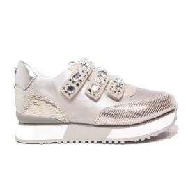 Apepazza sneaker con pietre sugli strappi colore argento articolo RSD12/SATIN RAYMONDE