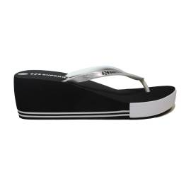 Superga flip flops for the sea of silver and black with wedge high article S24G035/Silver/Black
