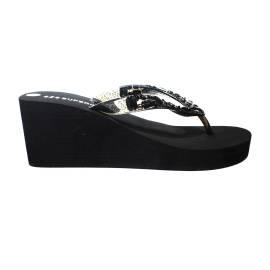 Superga sandalo con zeppa alta di colore nero con pietrine articolo S24P589/NERO