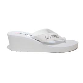 Superga sandal with wedge high coore of white with side logo article S24R974/White