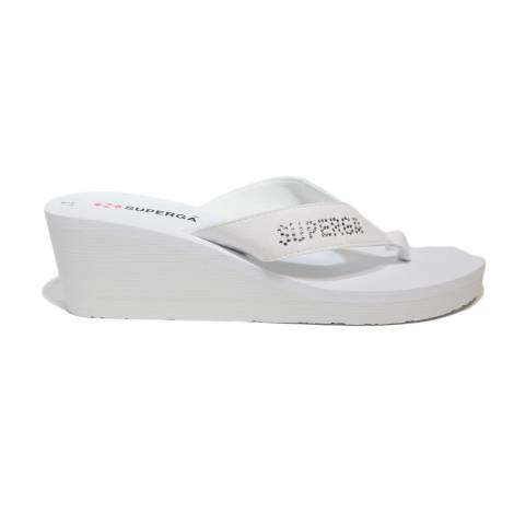 Superga sandalo con zeppa alta di coore bianco con logo laterale articolo S24R974/BIANCO