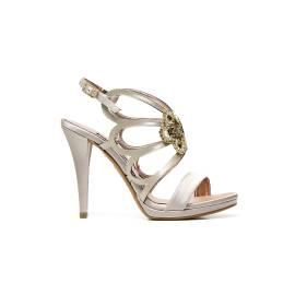 Albano 2037 RASO LATTICIATO BEIGE sandalo gioiello donna con applicazioni