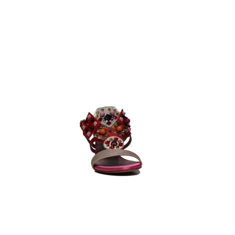 Sandalo Cipria Gioiello Colorate Raso Donna Con 3948 Albano Applicazioni OZiuXPkT