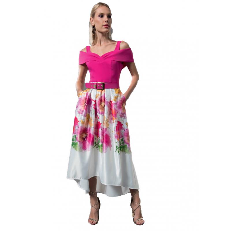 cc48f853c6ae EDAS Luxury Sendil abito donna asimmetrico con fantasia floreale