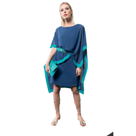 EDAS Luxury Crimeo Indigo / emerald woman dress with asymmetrical panel
