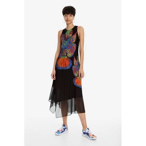Desigual 19SWVK05 2000 VEST_CRISTIN asymmetrical dress with fish pattern