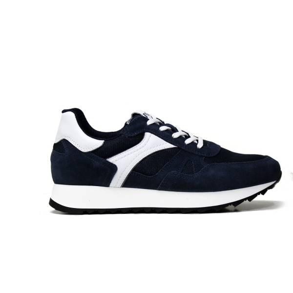 Nero Giardini sneaker da uomo in camoscio colore blu con inserti in pelle bianca articolo P900940U 207