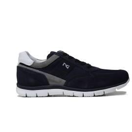 Nero Giardini sneaker da uomo in camoscio colore blu con inserti in camoscio grigio P900840U 200