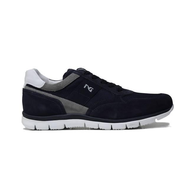 Nero Giardini sneaker da uomo in camoscio colore blu con inserti in camoscio grigio articolo P900840U 200