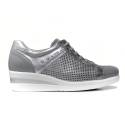 Nero Giardini woman gymnastic in gray leather with silver profiles article P907502D 105
