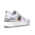 Nero Giardini women's sneaker in white leather with silver lateral stripes article P907721D 707