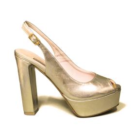 Albano sandalo donna elegante con tacco alto color platino laminato modello 2156 GIO12