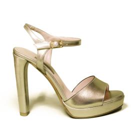Albano sandalo donna elegante con tacco alto color platino laminato modello 2176 SON10