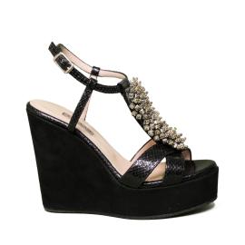 Albano sandalo gioiello con zeppa alta colore nero pitonato modello 2053 ZEP90