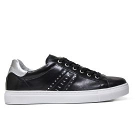Nero Giardini women's sneaker in black leather with silver decorations article P907571D 100