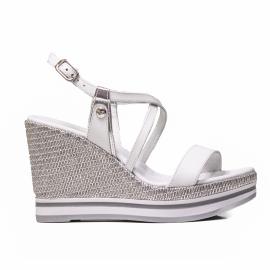 Nero Giardini sandalo con tacco alto colore bianco e modello P908331D 707